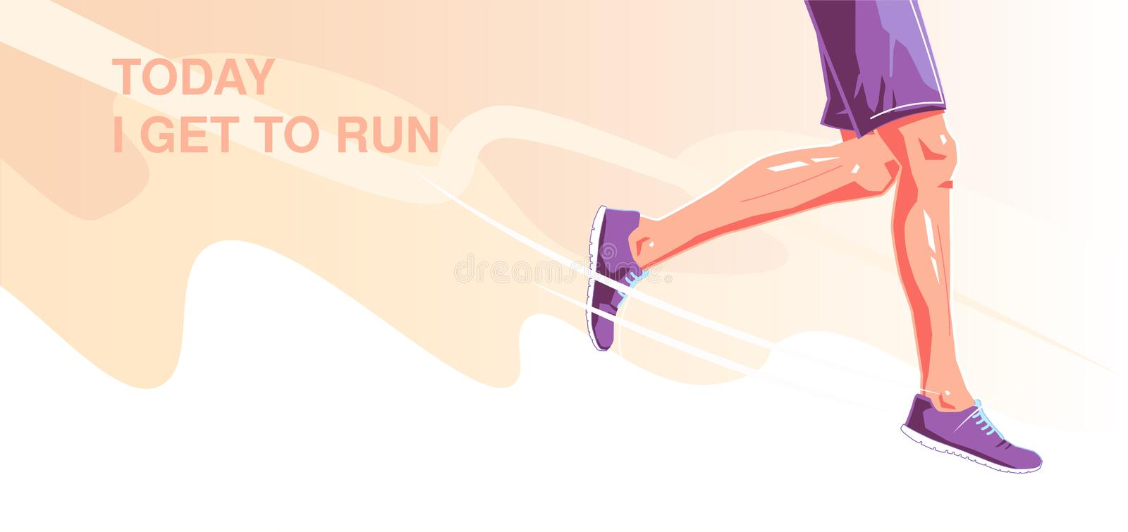 Today i get to run. Natural running. Healthy running lifestyle concept. Runner legs on background. Vector flat graphic. Today i get to run. Natural running stock illustration
