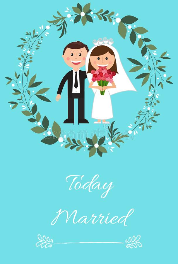 Today married greeting card or background with a wedding couple on a blue background stock photo