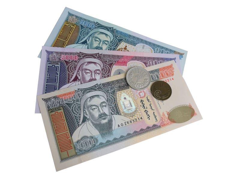 Today Mongolscy banknoty i stary mongoł fotografia royalty free