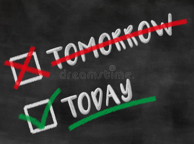 Today not tomorrow. Blackboard / chalkboard concept do things today and not tomorrow with checkboxes royalty free stock photography