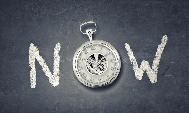 Today and now. Conceptual image with word now and pocket watch instead of letter stock image
