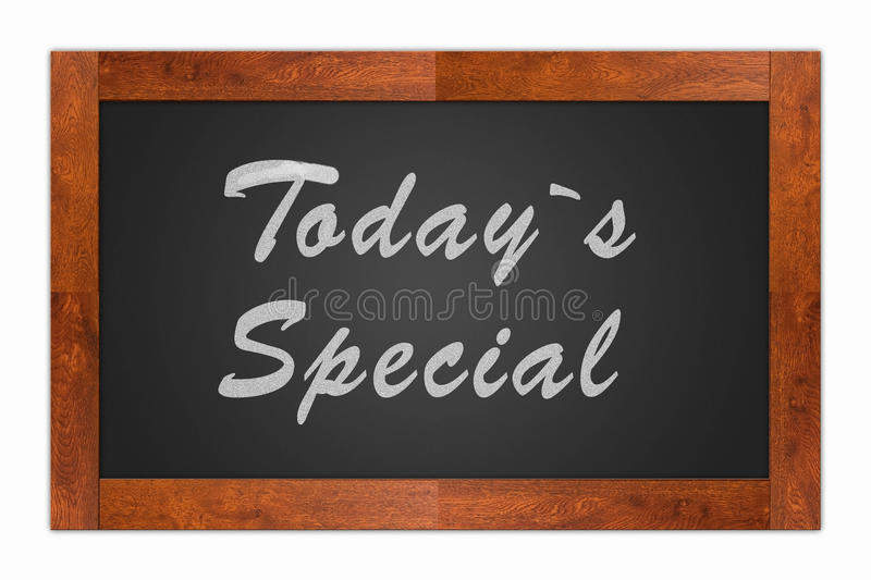 Today`s Special. Written with chalk on a isolated blackboard with wooden frame vector illustration