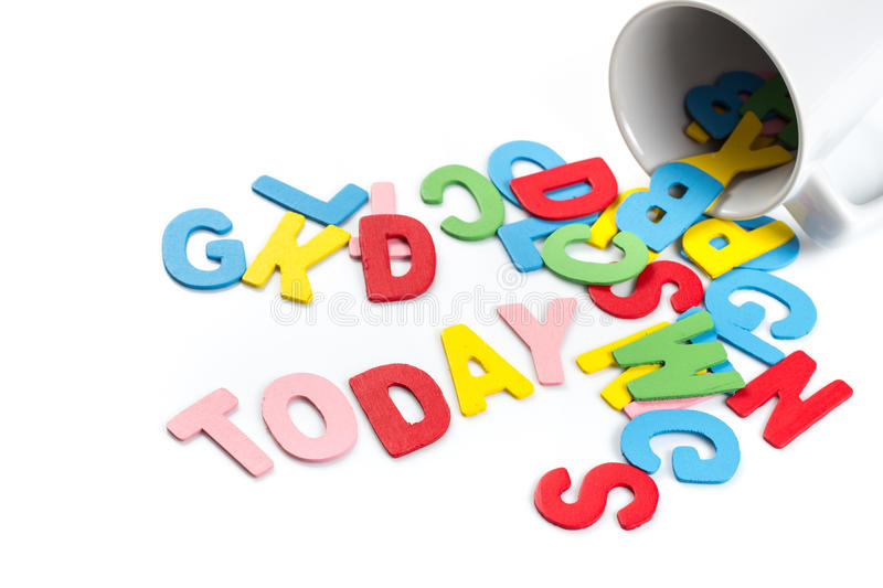 Today spill. Today word spill out of a cup on white background royalty free stock photos