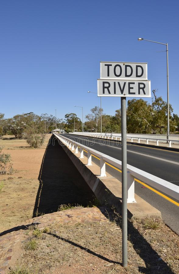 Todd River Sign Near Bridge, Alice Springs imagens de stock royalty free