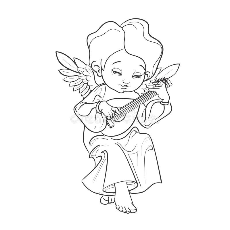 Toddler angel making music playing lute. Cute smiling toddler angel making music playing lute. Vector illustration. Good for seasonal greeting, redwork, coloring vector illustration