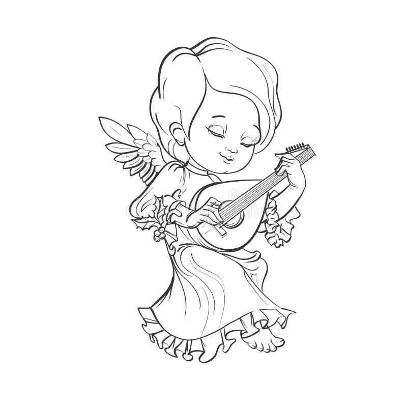 Toddler angel making music playing lute. Cute smiling toddler angel making music playing lute. Vector illustration. Good for seasonal greeting, redwork, coloring stock illustration