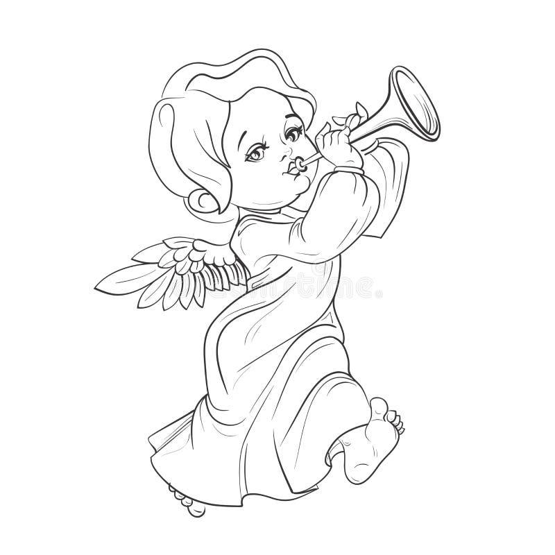 Toddler angel making music playing trumpet. Cute smiling toddler angel making music playing trumpet. Vector illustration. Good for seasonal greeting, redwork vector illustration