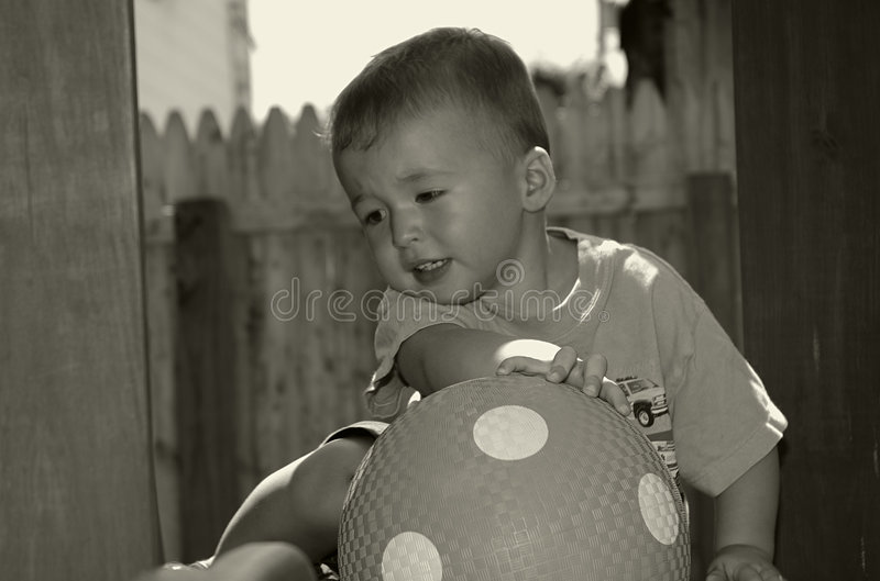 Download Toddler With Ball stock image. Image of child, expression - 17367