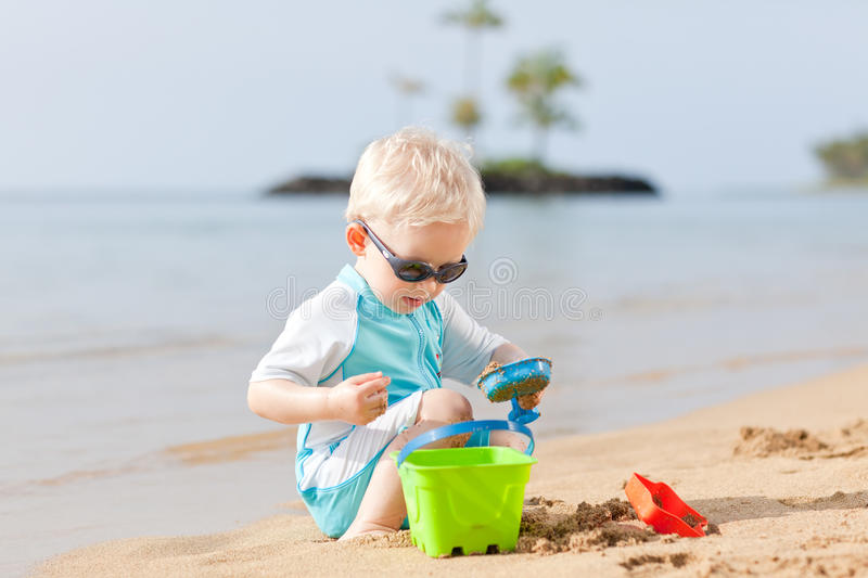 Toddler at a beach royalty free stock photography
