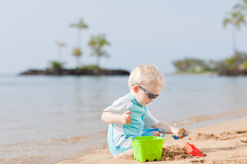 Toddler at a beach royalty free stock photo