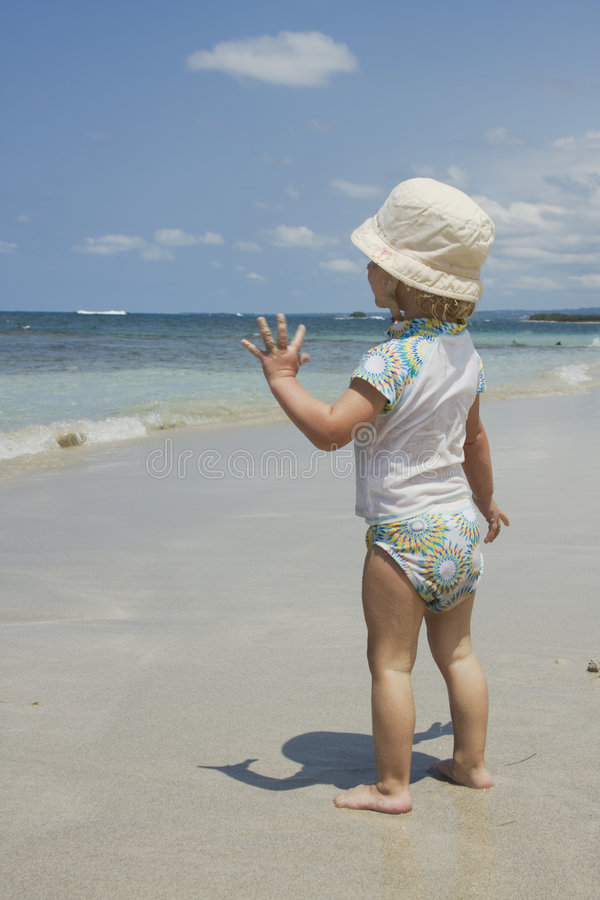 Toddler on the Beach royalty free stock images