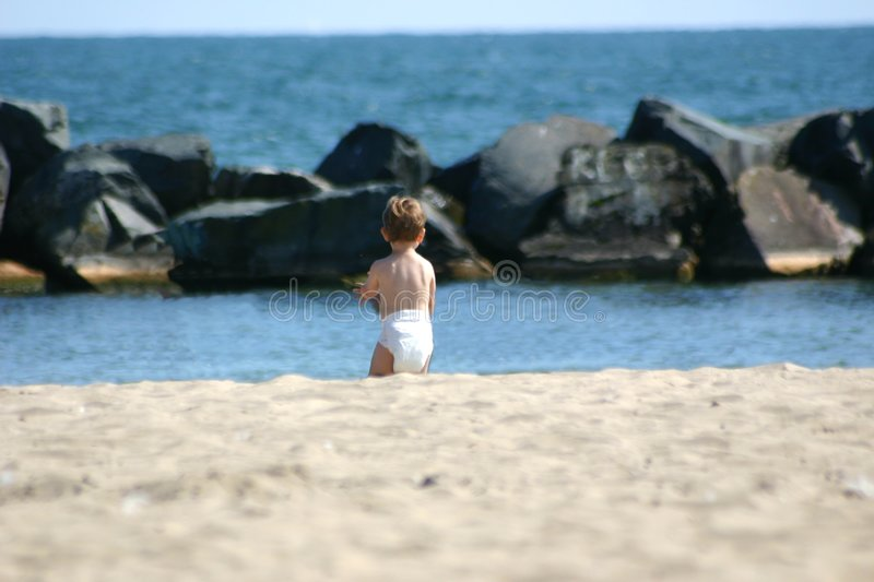 Download Toddler at the beach stock photo. Image of diaper, innocence - 59806