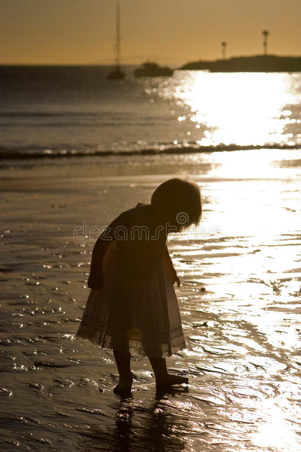 Download Toddler on the Beach stock image. Image of sand, sunset - 7934389