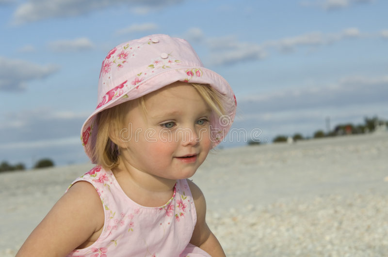 Download Toddler on beach stock photo. Image of sand, female, pink - 8136782
