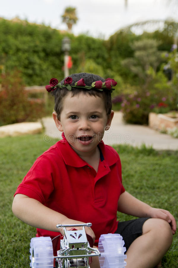 Toddler Boy Birthday flower bouquet royalty free stock photography