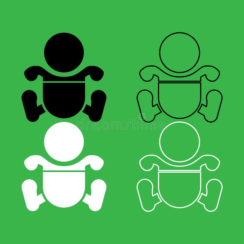 Toddler boy with diapers icon Black and white color set. Toddler boy with diapers icon . Black and white color set stock illustration