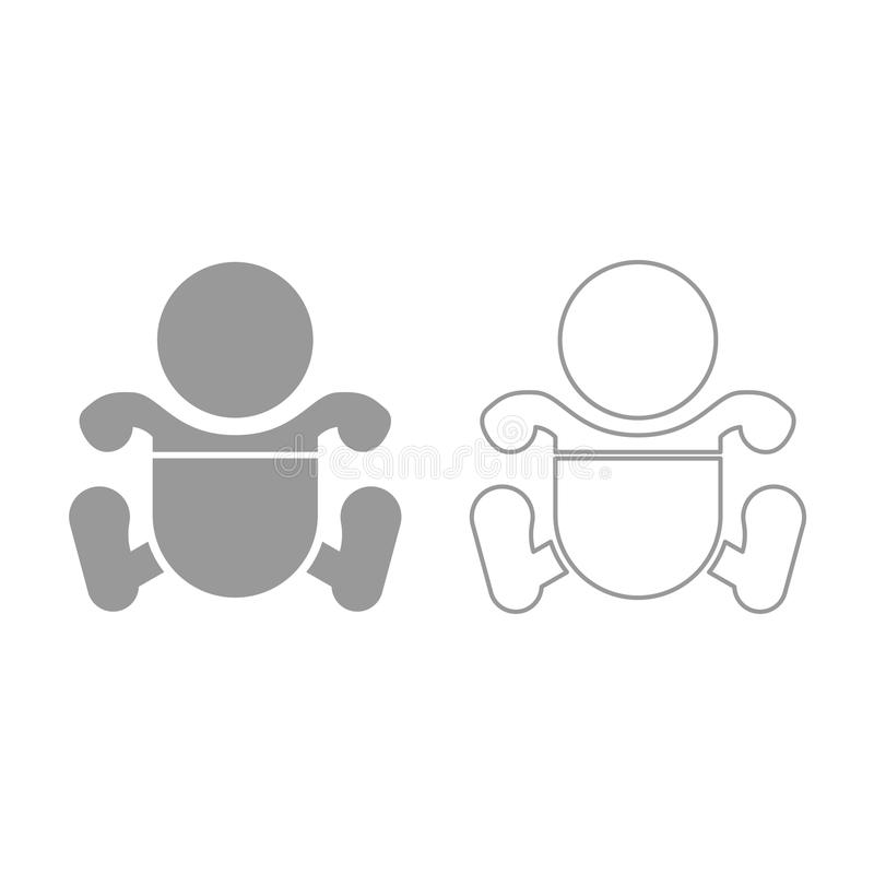 Toddler boy with diapers icon. Grey set . Toddler boy with diapers icon. It is grey set vector illustration
