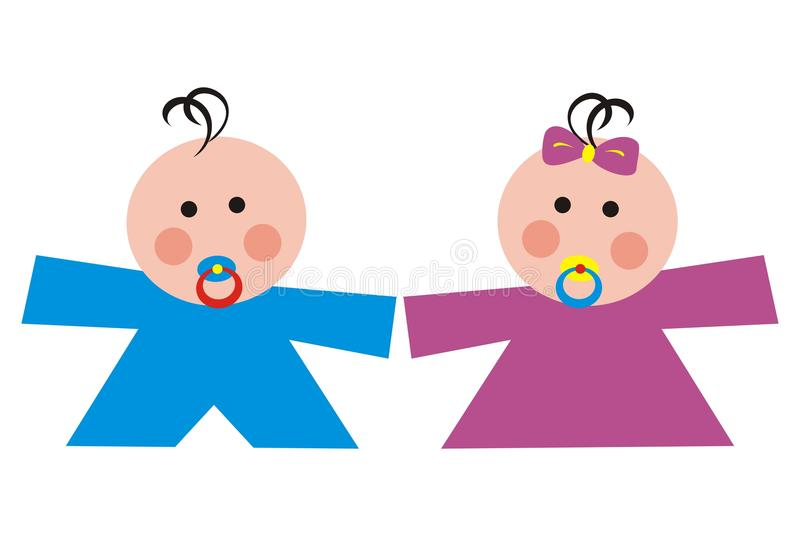 Toddler, boy and girl. Boy and girl with pacifier. Toddler. Symbol stock illustration