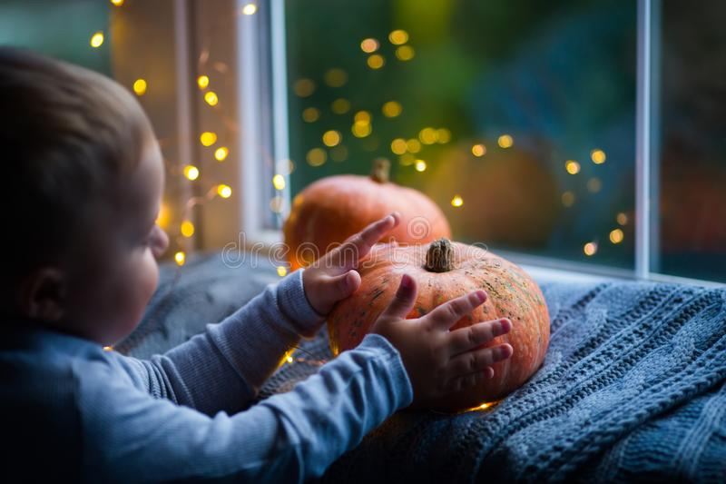 Toddler boy holding orange pumpkin on gray knitted plaid near window in evening surrounded with warm garland lights with golden. Bokeh. October autumn harvest royalty free stock photos