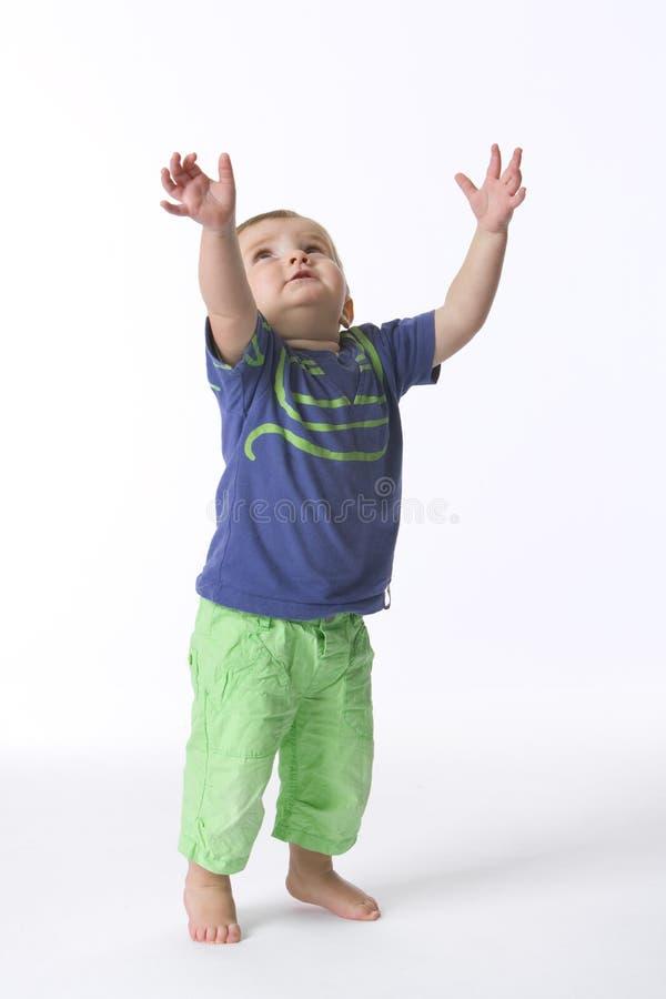 Toddler Boy Reaching Above stock image