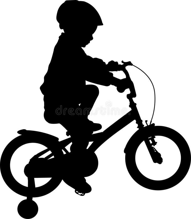 Toddler boy riding bicycle high quality silhouette. Vector vector illustration