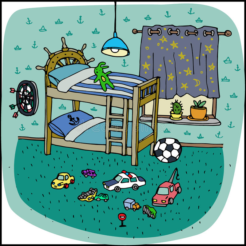 Toddler boy room interior in cartoon style stock illustration