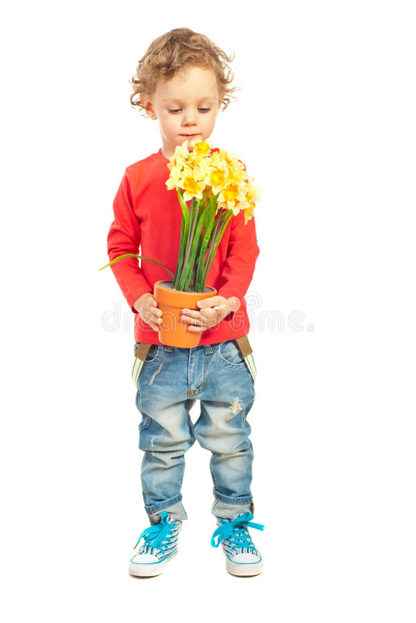 Toddler boy smelling flowers stock photography