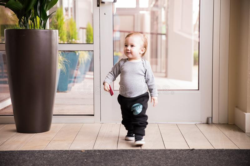Toddler boy struts his stuff royalty free stock photos