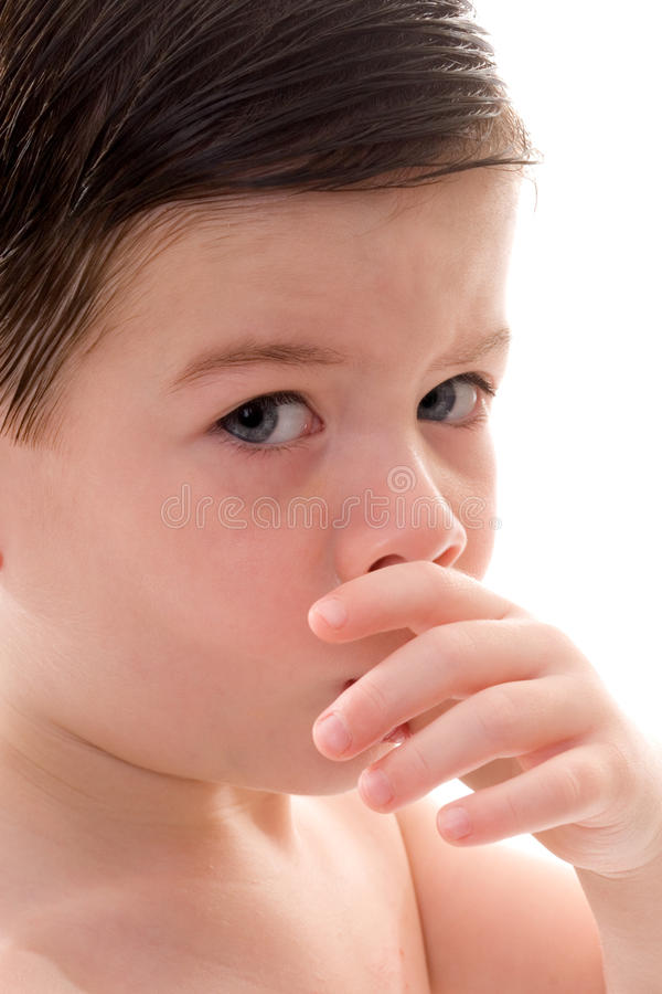 Toddler Boy Sucking his Thumb royalty free stock image