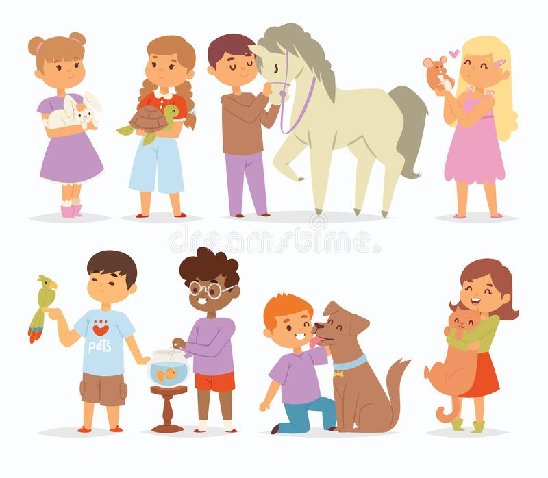 Toddler cartoon vector kids characters petting little pet in and cute kind child hold hug home pets animals lovely royalty free stock images