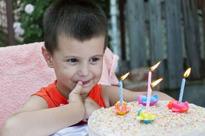 Toddler celebrating birthday stock photos