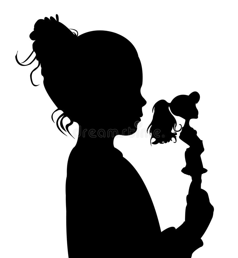 Toddler child silhouette vector. Toddler child holding her toy baby silhouette vector royalty free illustration