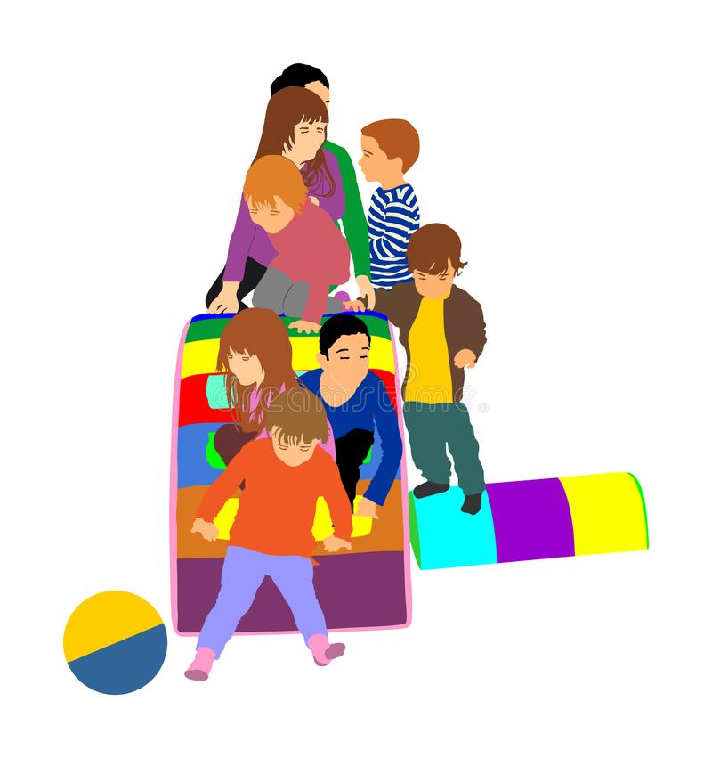 Toddler children slide down illustration. Kids get down at toboggan. Indoor playground birthday celebration. stock illustration