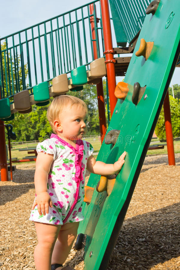 Toddler at Climbing Ramp stock image