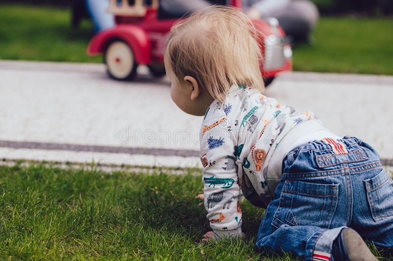 Toddler crawling on green grass royalty free stock photo
