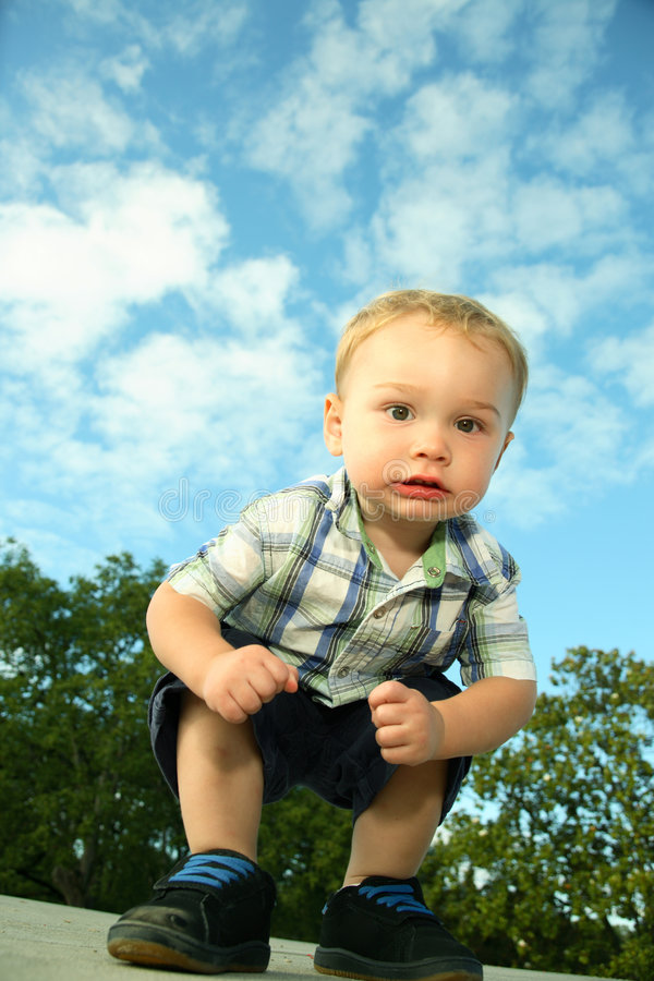 Download Toddler crouching stock image. Image of caucasian, colors - 4178315