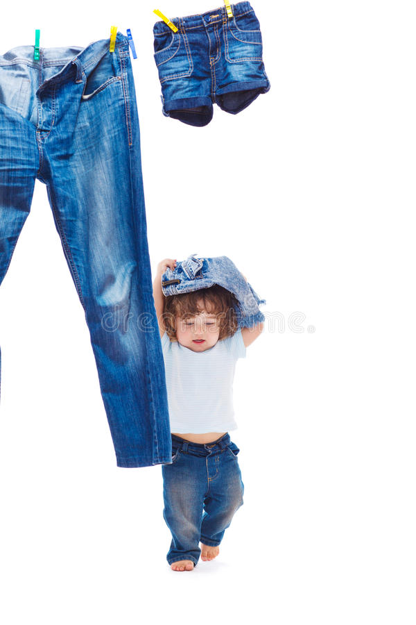 Download Toddler with denim clothes stock image. Image of jeans - 26372685
