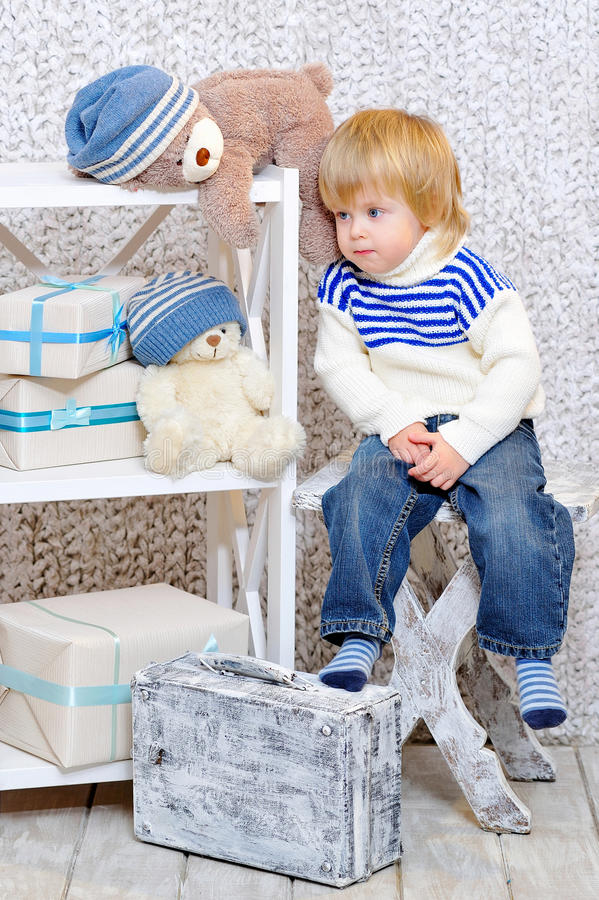 Free Toddler Dreaming About Christmas Stock Photography - 35334422