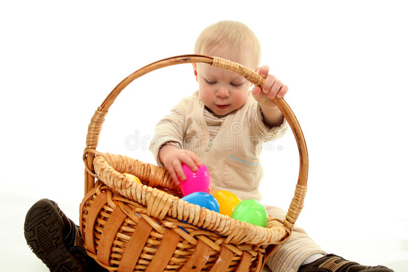 Download Toddler and easter eggs stock photo. Image of toddler - 13459104
