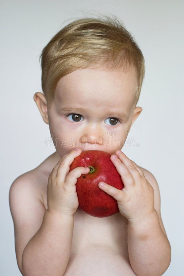 Download Toddler Eating Apple stock photo. Image of child, bright - 3021368