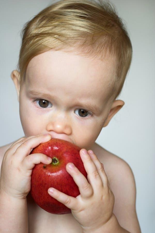 Download Toddler Eating Apple stock image. Image of enjoying, bare - 3021381