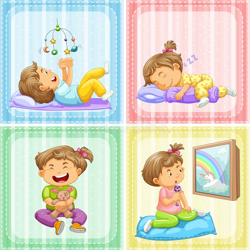 Toddler in four different actions. Illustration royalty free illustration