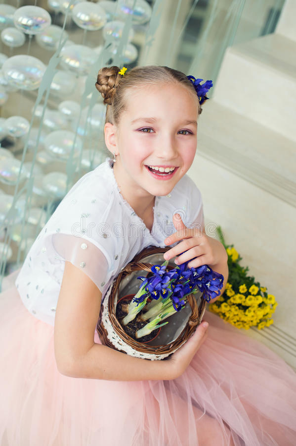 Toddler funny girl at home ready to celebrate spring and Easter royalty free stock photography
