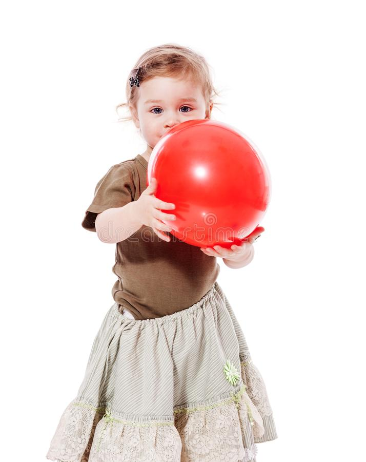 Toddler girl with balloon stock photo