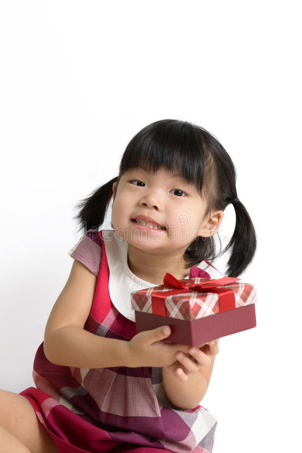 Toddler Girl With Gift Box Stock Image
