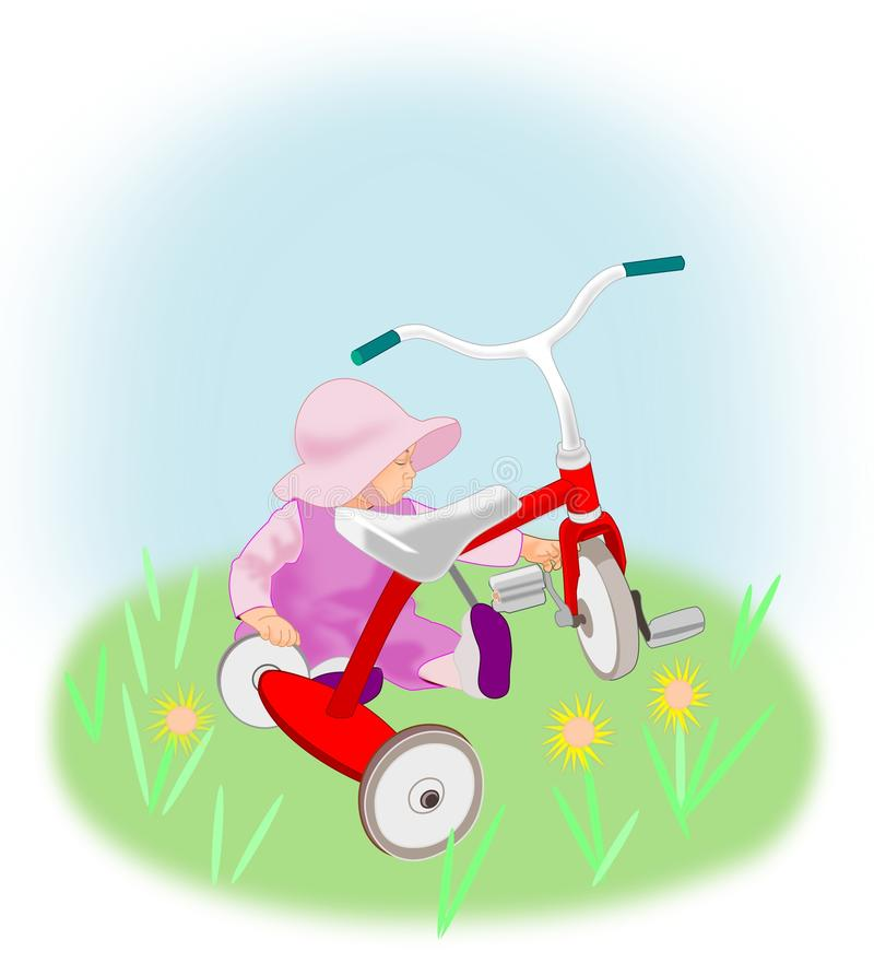 Toddler Girl with Tricycle. stock illustration