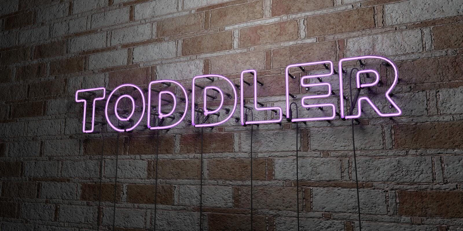 TODDLER - Glowing Neon Sign on stonework wall - 3D rendered royalty free stock illustration. Can be used for online banner ads and direct mailers vector illustration