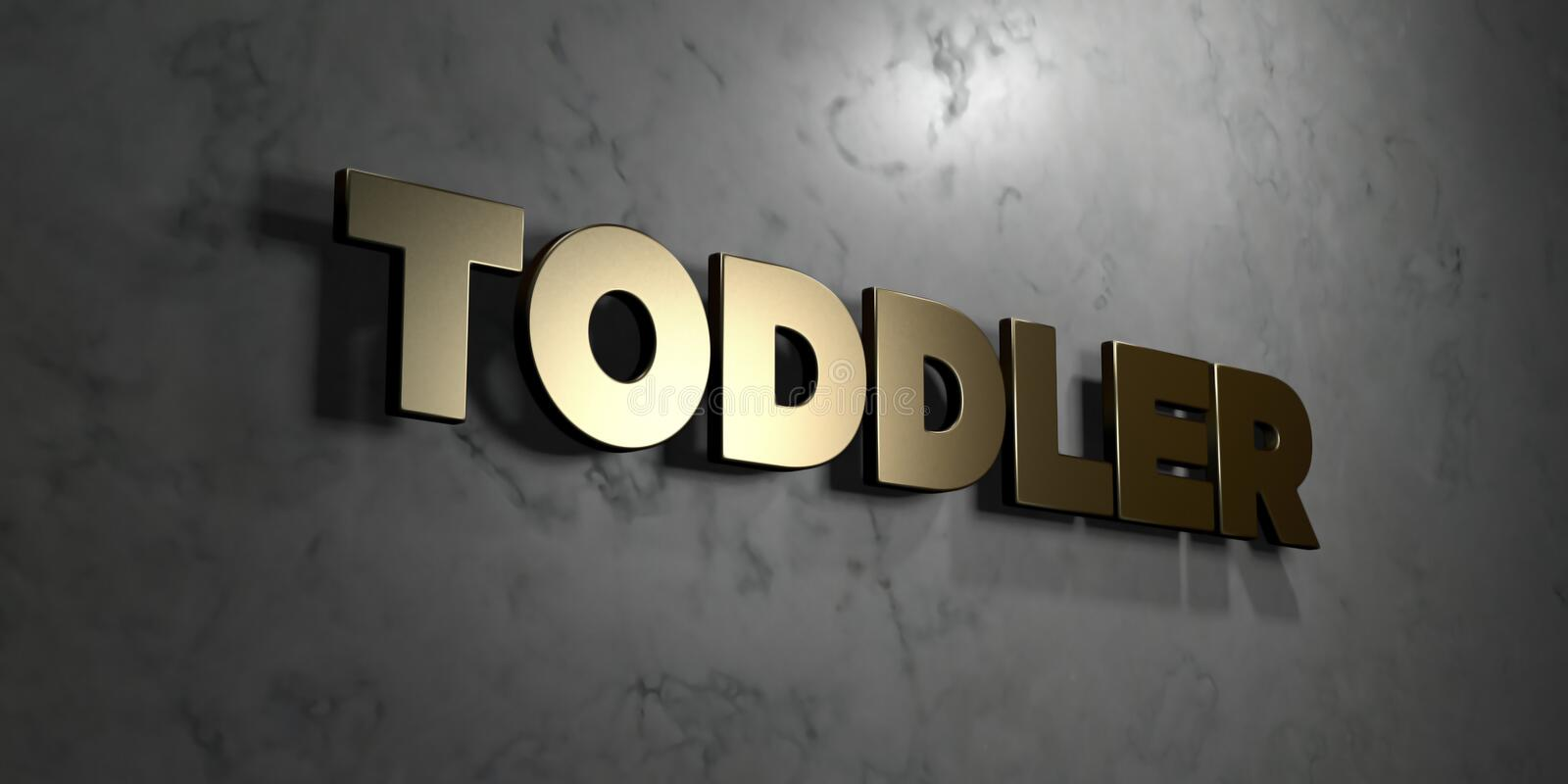 Toddler - Gold sign mounted on glossy marble wall - 3D rendered royalty free stock illustration. This image can be used for an online website banner ad or a royalty free illustration
