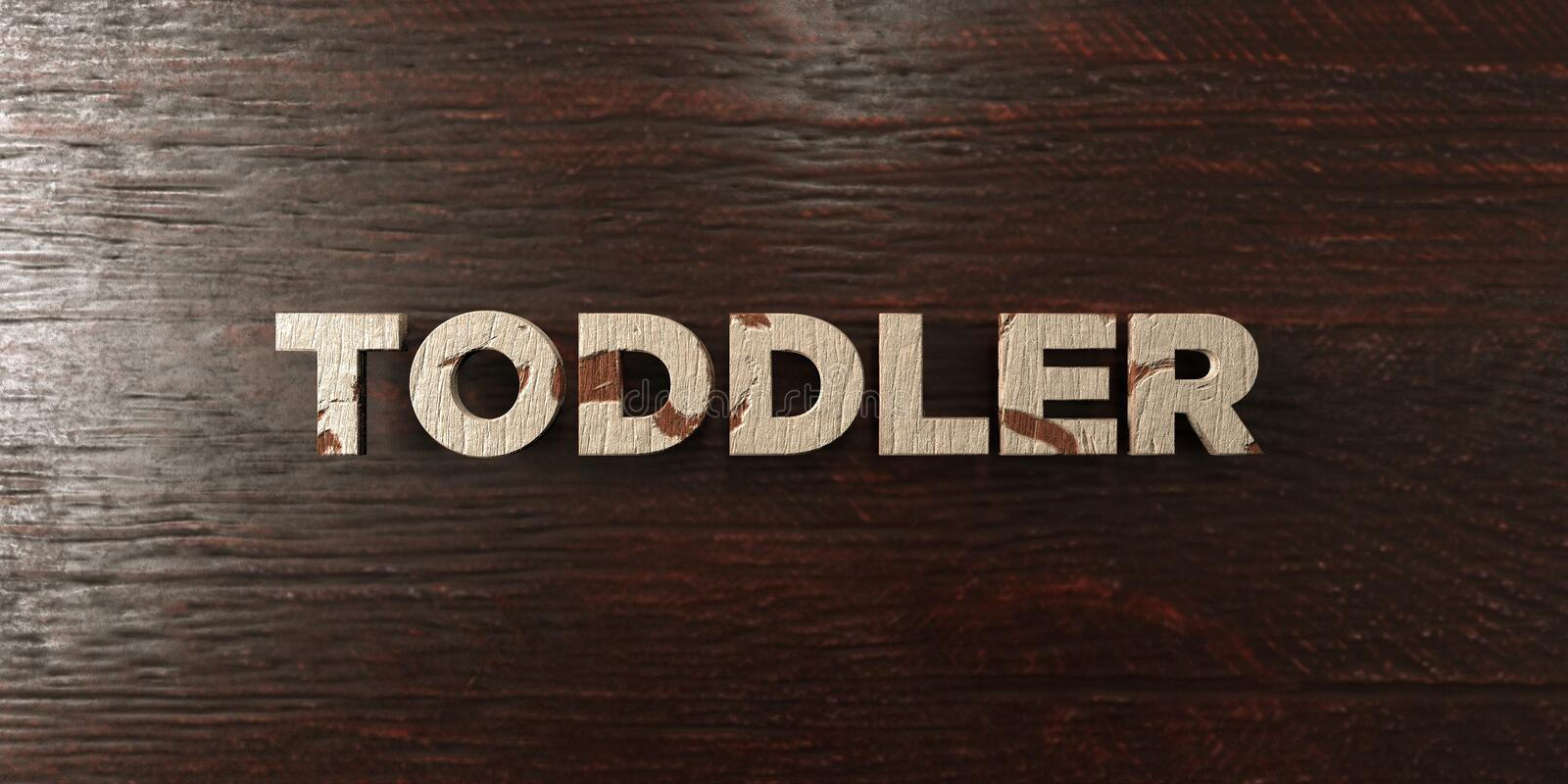 Toddler - grungy wooden headline on Maple - 3D rendered royalty free stock image. This image can be used for an online website banner ad or a print postcard vector illustration