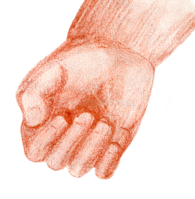 Toddler hand. Original red chalk sketch of a chubby , isolated on white royalty free illustration